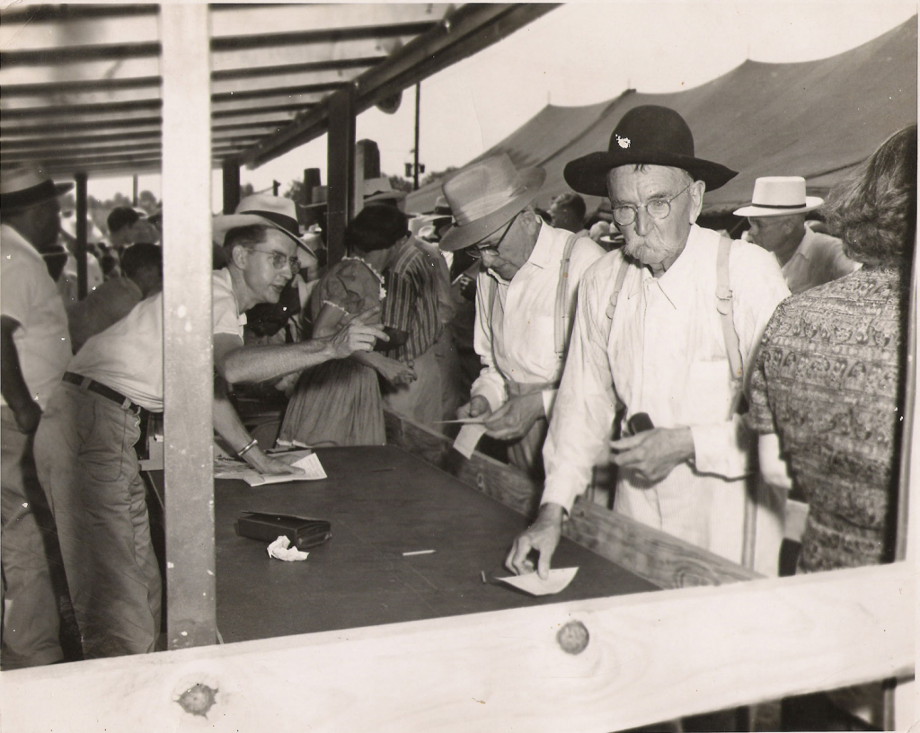 Members sign up for Claiborne Electric service in the1930s.